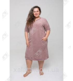 """Халат женский легкая махра """"Жемчужинки"""" Esra розовый к.9375"""