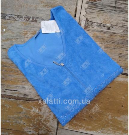 """Халат женский большого размера легкая махра """"Вышивка"""" Esra голубой"""