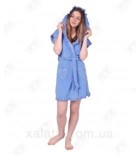 Халат женский легкая махра голубой J-Fashion