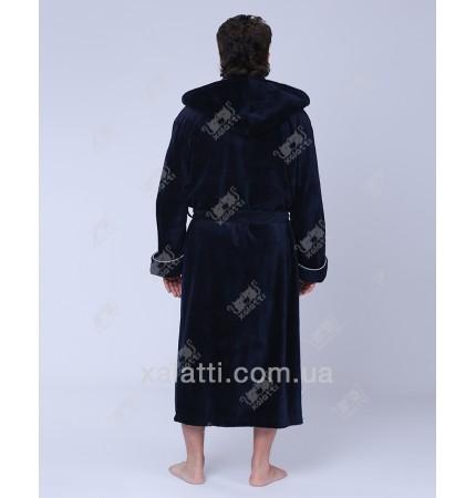 Халат мужской махровый капюшон синий Nusa бамбук