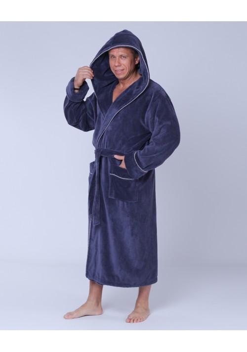 купить Халат мужской махровый капюшон 48-58 серый Nusa бамбук