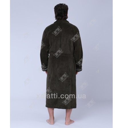 "Халат мужской махровый бамбук ""Уголок"" зеленый Nusa"