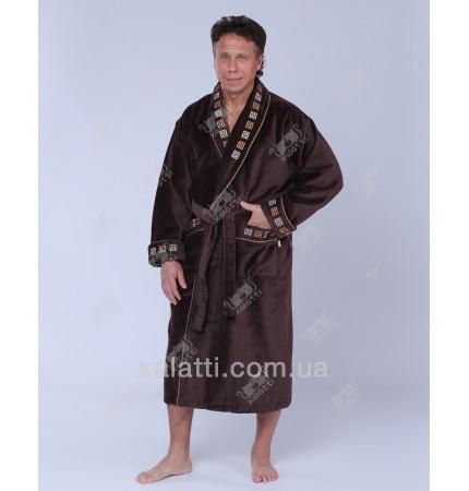 """Халат мужской махровый хлопок """"Лабиринт"""" Nusa коричневый"""