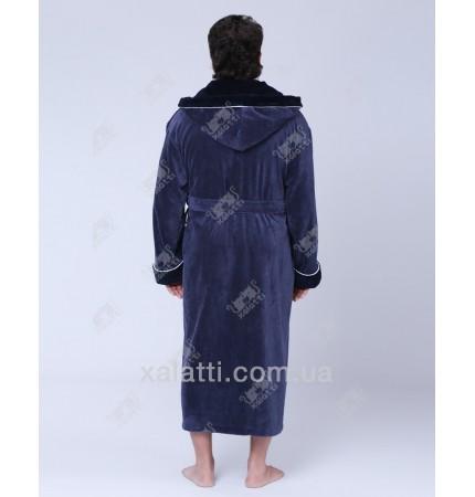 Халат мужской махровый капюшон бамбук серо-синий Nusa