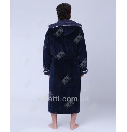 Халат мужской махровый капюшон сине-серый Nusa бамбук