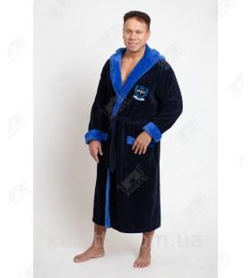 """Мужской махровый халат капюшон бамбук """"Спорт"""" голубой"""