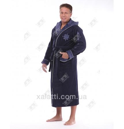 """Халат мужской махровый капюшон хлопок """"Спорт"""" синий с бордо"""