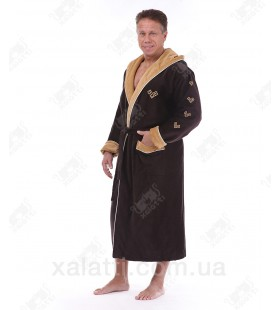 """Халат мужской махровый капюшон хлопок """"Спорт"""" коричневый"""
