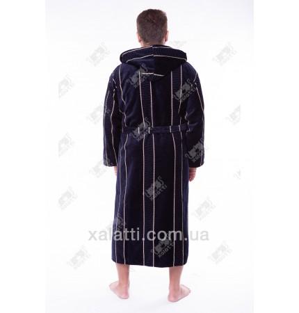 Халат мужской махровый капюшон Chereskin синий