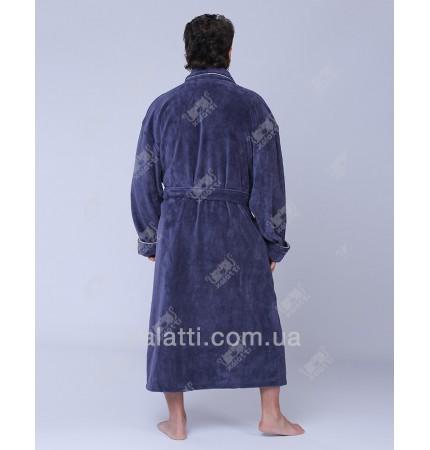 """Халат мужской махровый бамбук """"Уголок"""" серый Nusa"""