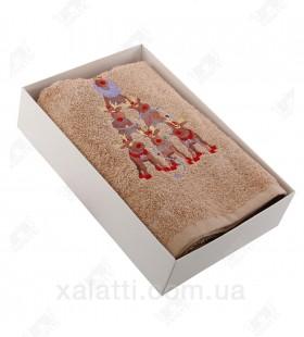 """Новогоднее полотенце махровое 50*90 хлопок """"Олени"""" бежевое"""