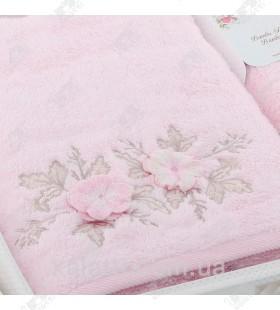 Набор полотенец махровых бамбук Sikel розовый