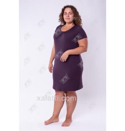 Женская трикотажная сорочка 48-56 короткая баклажан Carolina к.84662