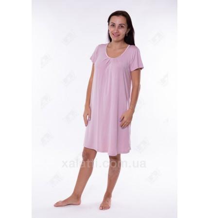 Женская трикотажная сорочка 48-56 короткая розовая Carolina к.84662