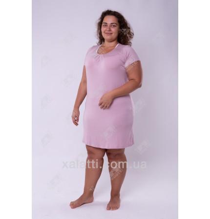 Женская трикотажная сорочка 48-56 короткая кофе с молоком Carolina к.84662