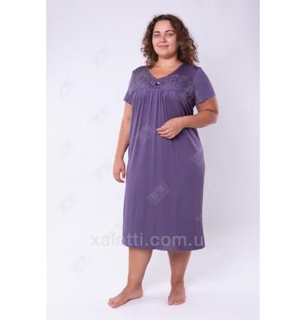 Женская трикотажная сорочка 52-56 графит Carolina