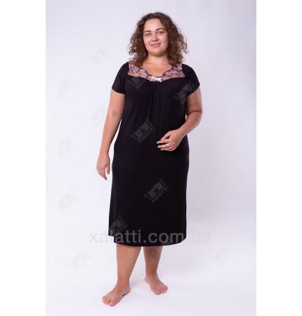 Женская трикотажная сорочка 52-60 черный Carolina