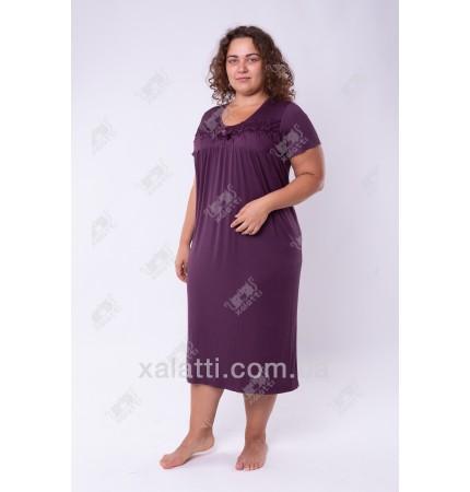 Женская трикотажная сорочка 52-60 баклажан Carolina