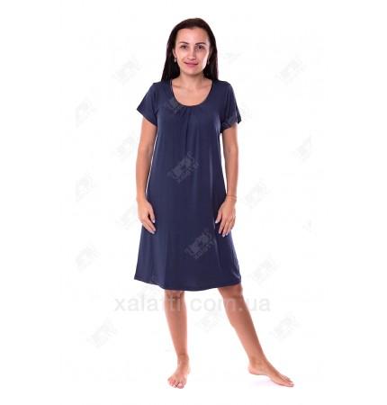 Женская трикотажная сорочка 48-56 короткая синяя Carolina к.84662