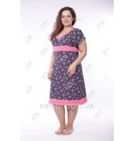 Женская трикотажная сорочка 52-56 синяя Miss Victoria к.11376