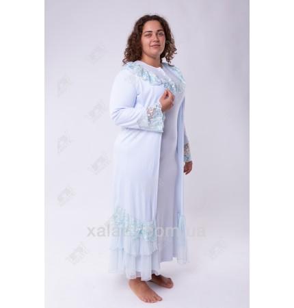Ночная сорочка и халат трикотаж 50-52 голубой Сирия к.249