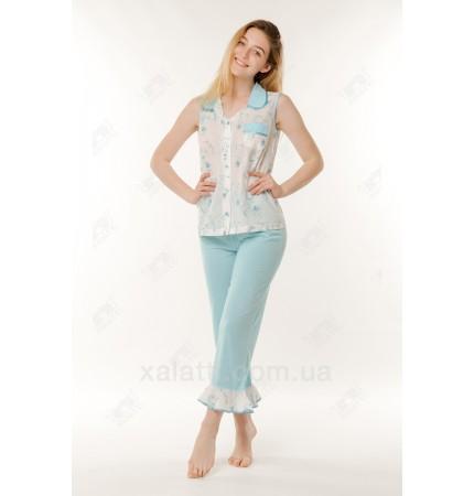 Пижама женская батист 48-54 голубая Marilyn