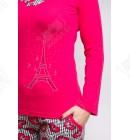"""Пижама женская 46-52 трикотаж """"Париж"""" малиновый"""