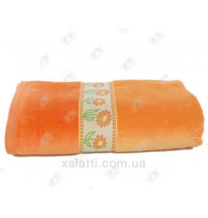"""Полотенце махровое 100*150 хлопок """"Ромашка"""" оранжевый"""