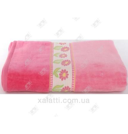 """Полотенце махровое 100*150 хлопок """"Ромашка"""" розовый"""
