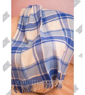 Плед 140*200 новозеландская шерсть Ярослав голубой клетка 9