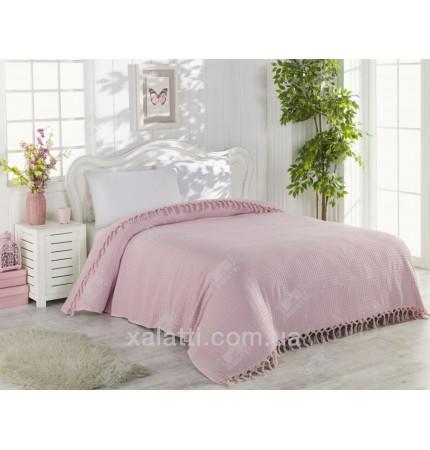 Вафельное покрывало220*240 хлопок розовое La Rita
