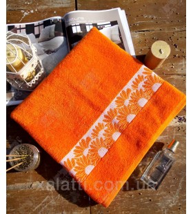 """Банное махровое полотенце 70*140 хлопок """"Ромашка"""" оранжевое"""
