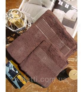 """Банное махровое полотенце 70*140 хлопок """"Золотая полоса"""" коричневое"""