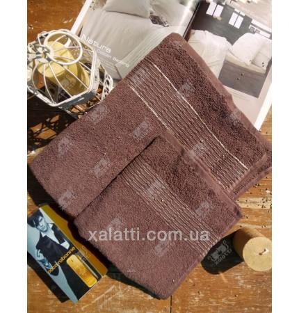 """Банное махровое полотенце 70*140 хлопок """"Золотая полоса"""" коричневый"""