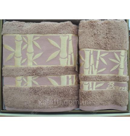 набор полотенец махровых бамбук Karna кофе