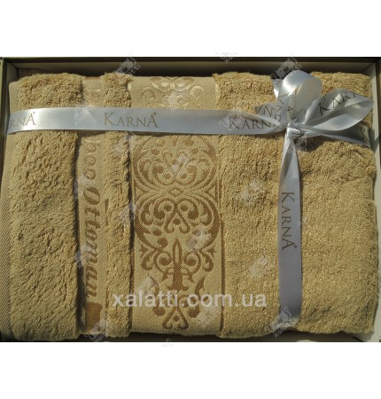 Набор полотенец махровых бамбук Karna бежевый
