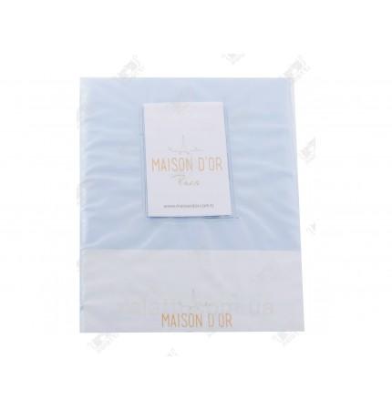 Простыня  сатиновая 240*260 + 2 наволочки 50*70 голубая Maison D'or