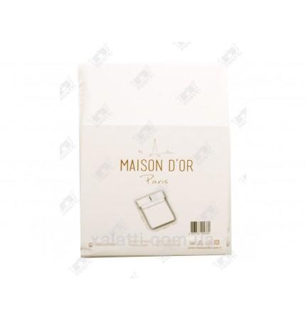 Простыня  сатиновая 240*260 + 2 наволочки 50*70 кремовая Maison D'or