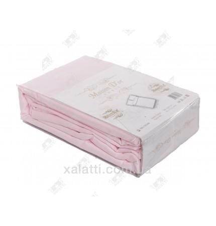 Простыня  сатиновая 240*260 + 2 наволочки 50*70 розовая Maison D'or