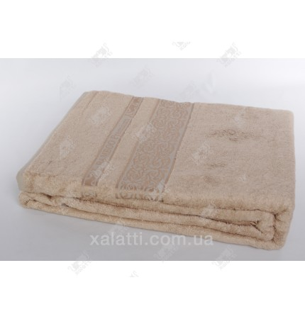 Простыня махровая 200*220 бамбук бежевая