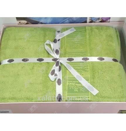 Простыня махровая 200*220 бамбук салатовая