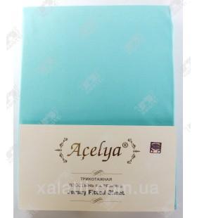 Трикотажная простыня 160*200 на резинке + наволочки 70*70 Aceliya бирюза