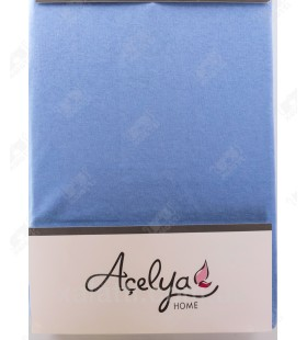 Трикотажная простыня 160*200 на резинке с наволочками 70*70 Aceliya голубая