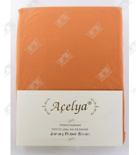 Трикотажная простыня 160*200 на резинке + наволочки 70*70 Aceliya терракотовая