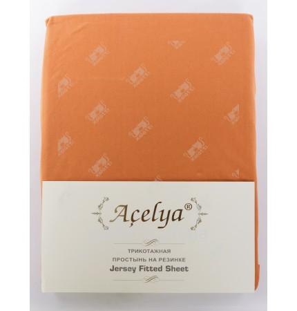 Простыня трикотажная 160*200 на резинке Aceliya терракотовая