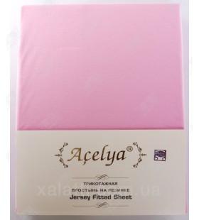 Трикотажная простыня 160*200 на резинке с наволочками 70*70 Aceliya розовая