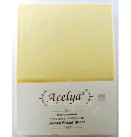 Трикотажная простыня 160*200 на резинке +наволочки 70*70 Acelya желтая