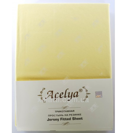 Трикотажная простыня 160*200 на резинке с наволочками 70*70 Aceliya желтая