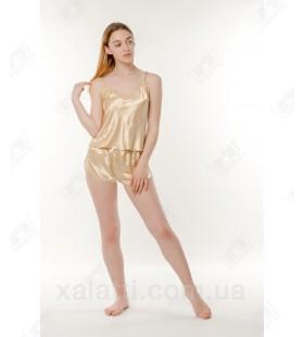 Шелковая пижама шортики 46 Janny золото