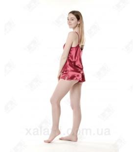 Шелковая пижама шортики 46 Janny бордо
